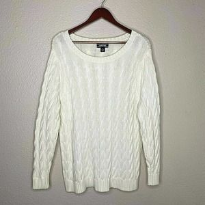 Lands End Women's Long Sleeve Ivory Cable Knit Crew Round Pullover Sweater SZ 1X